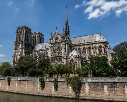 Cathedral of Notre Dame Paris Side View from River