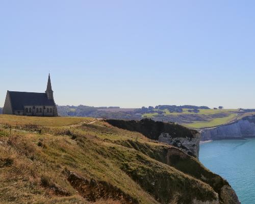 Etretat Cliffs Chapel View